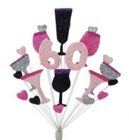 Cocktails 60th birthday cake topper decoration in shades of pink, black and silver - free postage